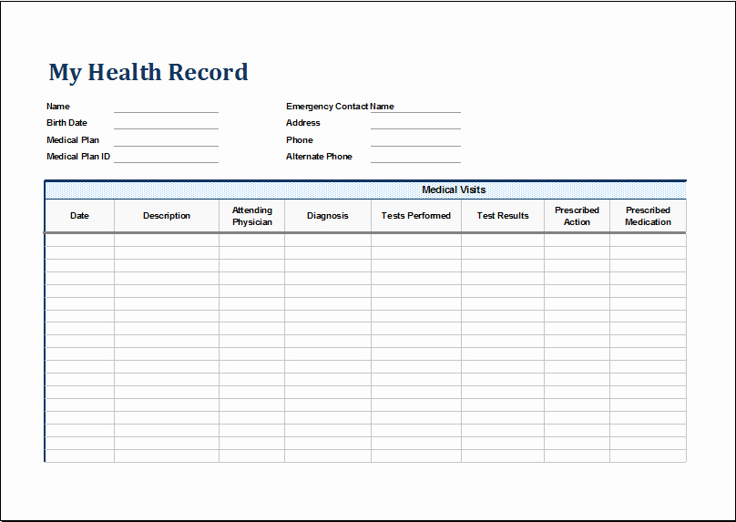 Medical form Templates Microsoft Word Fresh Personal Medical Health Record Sheet