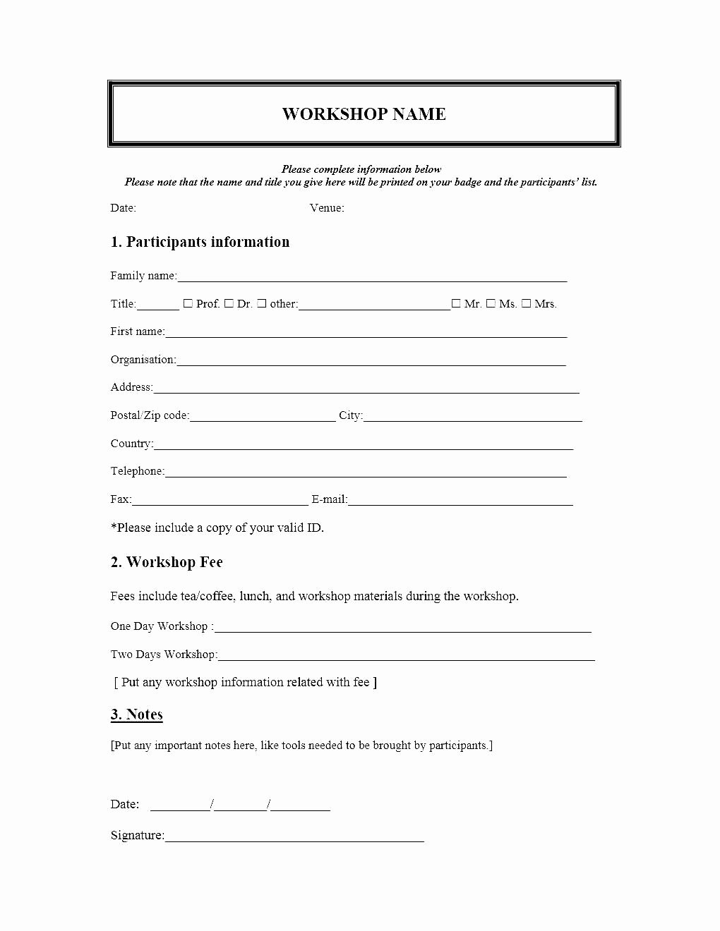 Medical form Templates Microsoft Word Lovely event Registration form Template Microsoft Word