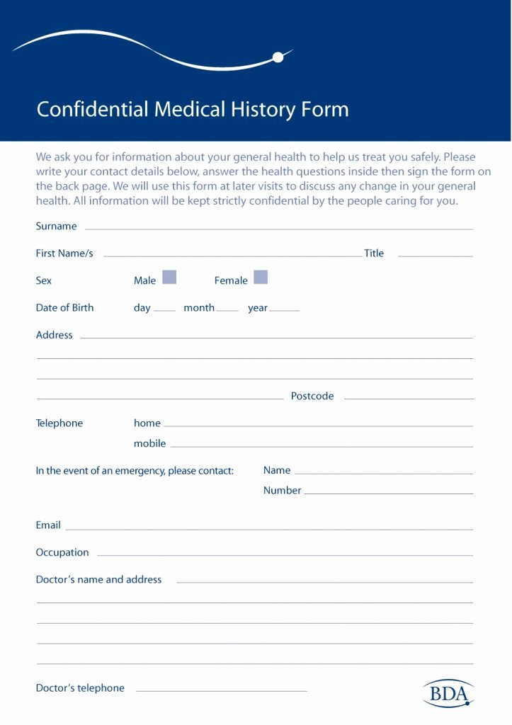 Medical form Templates Microsoft Word Luxury 67 Medical History forms [word Pdf] Printable Templates