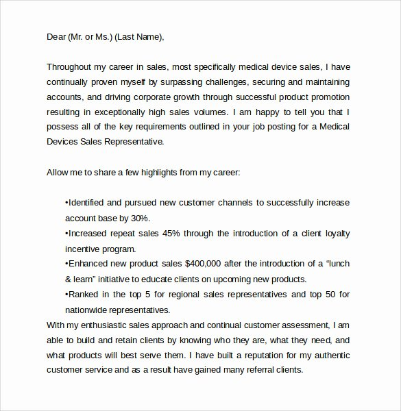 Medical Sales Cover Letter Best Of Pharmaceutical Sales Representative Cover Letter