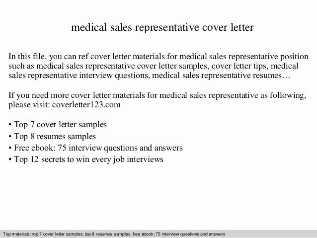 Medical Sales Cover Letter Elegant Medical Sales Representative Cover Letter