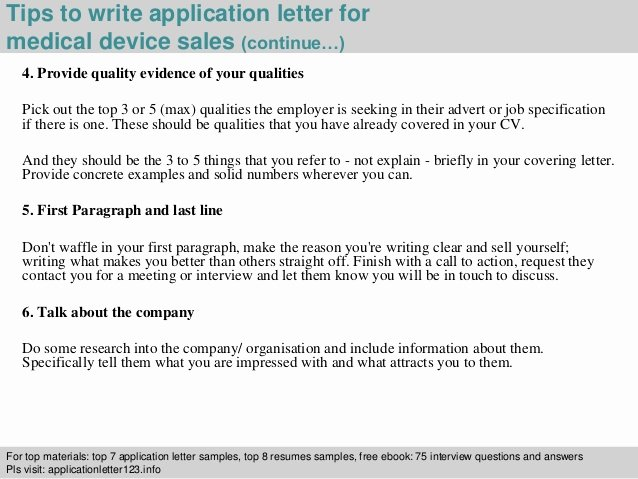 Medical Sales Cover Letter Inspirational Medical Device Sales Application Letter