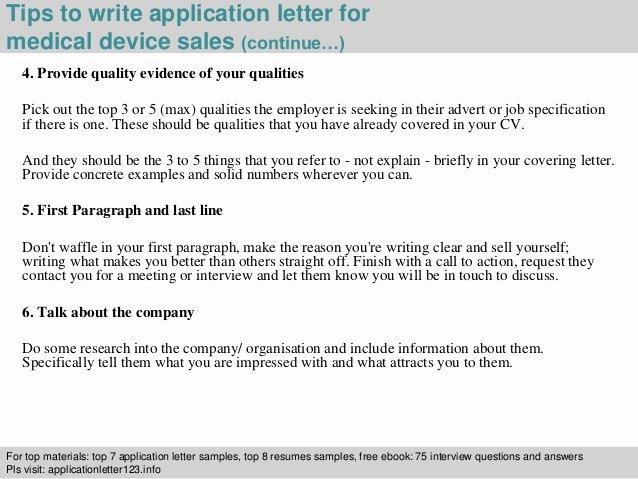 medical device sales application letter