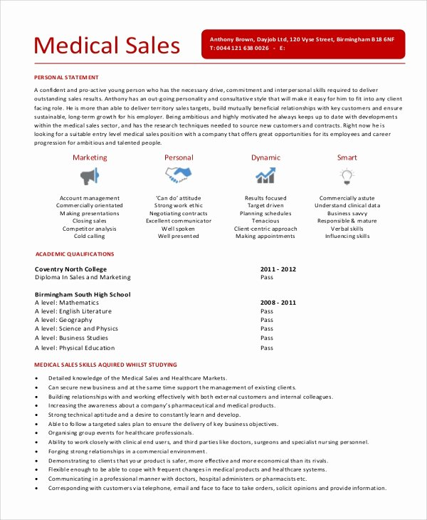 Medical Sales Cover Letter Lovely Sample Sales Representative Resume 6 Examples In Word Pdf