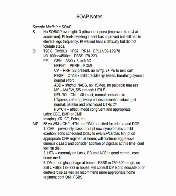 Medical soap Note Template Unique 11 soap Note Templates – Free Sample Example format