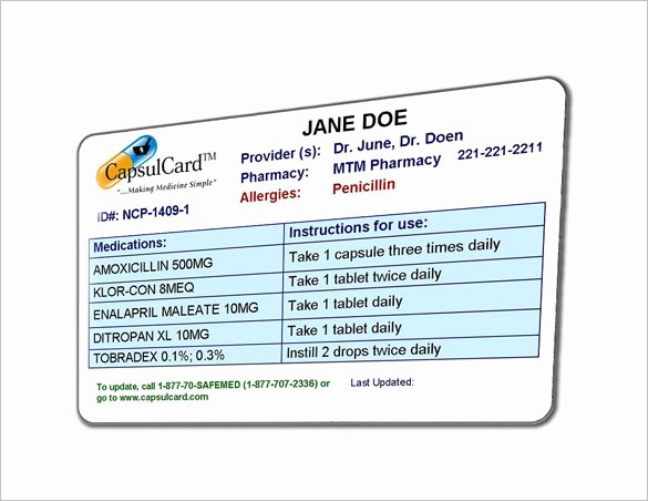 Medication Card for Wallet Elegant 8 Medication Card Templates Doc Pdf
