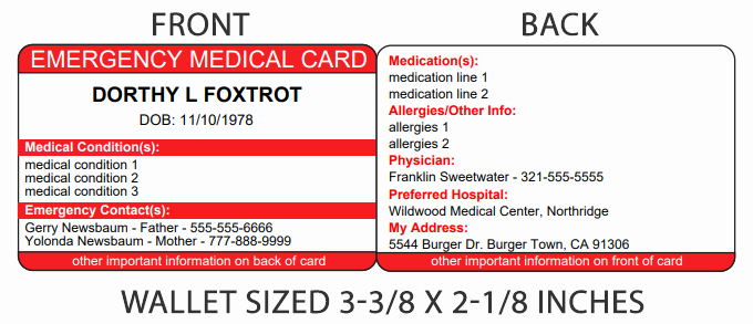 Medication Card for Wallet Inspirational Print Your Free Epilepsy Id Card