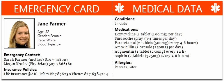 Medication Cards for Wallet Awesome Ice – that's In Case Of Emergency – thought Grazing