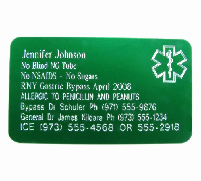 Medication Cards for Wallet Best Of Premium Medical Id Wallet Card Engraved Open Filled