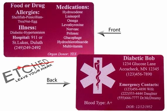 Medication Cards for Wallet Luxury Medical Id Wallet Card Diabetic Wallet Card Medical Alert
