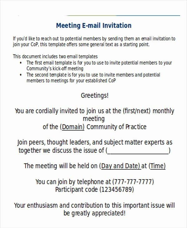 Meeting Invitation Email Sample Beautiful 9 Ficial Email Templates Free Psd Eps Ai format