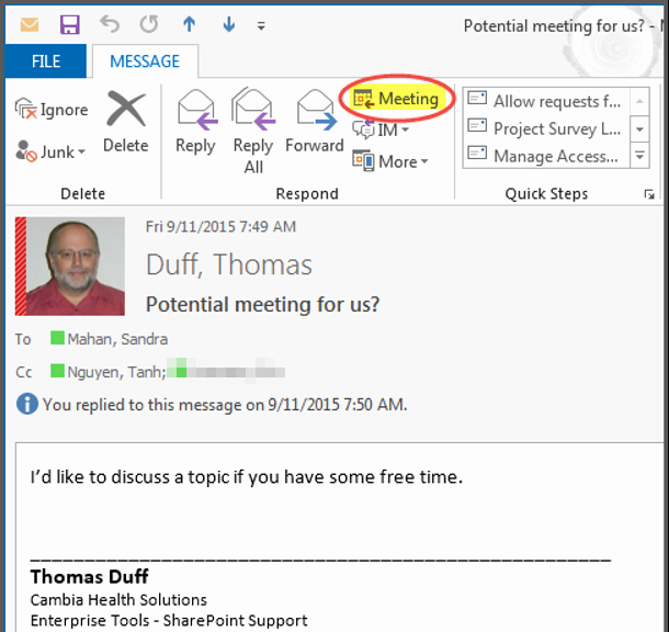 Meeting Invitation Email Sample Beautiful Creating A Meeting Invite Directly From An Outlook E Mail