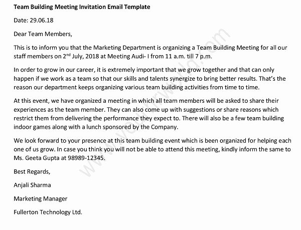 Meeting Invitation Email Sample Inspirational Team Building Meeting Invitation Email Sample