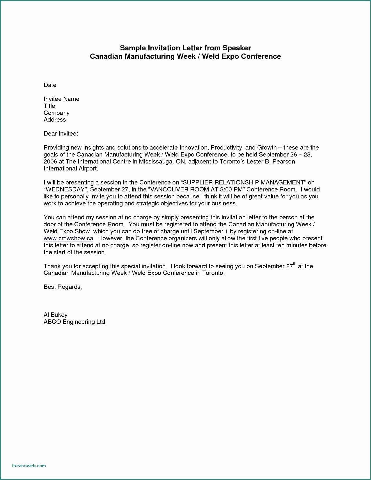 Meeting Invitation Email Sample Unique Meeting Invitation Letter