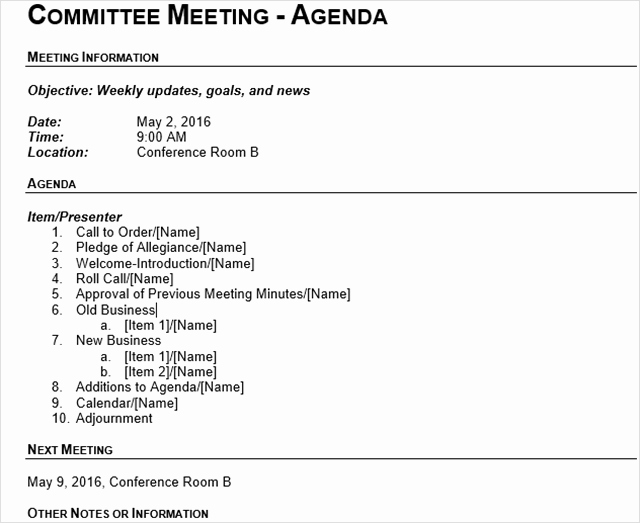Meeting Minutes Agenda Template Awesome 15 Best Meeting Agenda Templates for Word