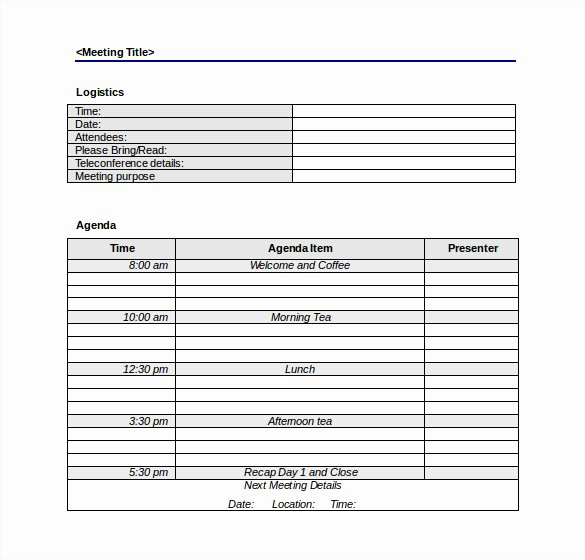 Meeting Minutes Agenda Template Awesome 50 Meeting Agenda Templates Pdf Doc