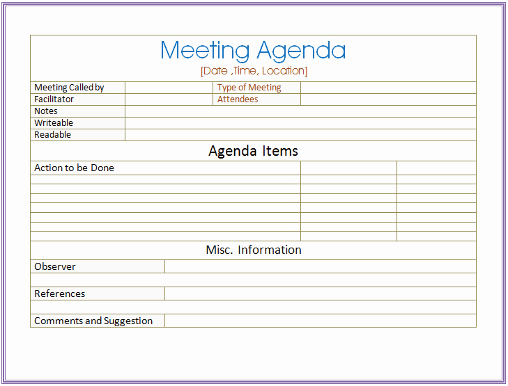 Meeting Minutes Agenda Template Awesome Basic Meeting Agenda Template formal & Informal Meetings