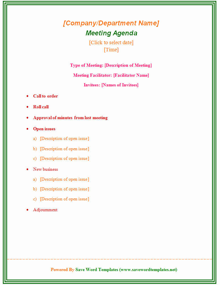 Meeting Minutes Agenda Template Beautiful Enticing Template Word Sample for Meeting Agenda with Type