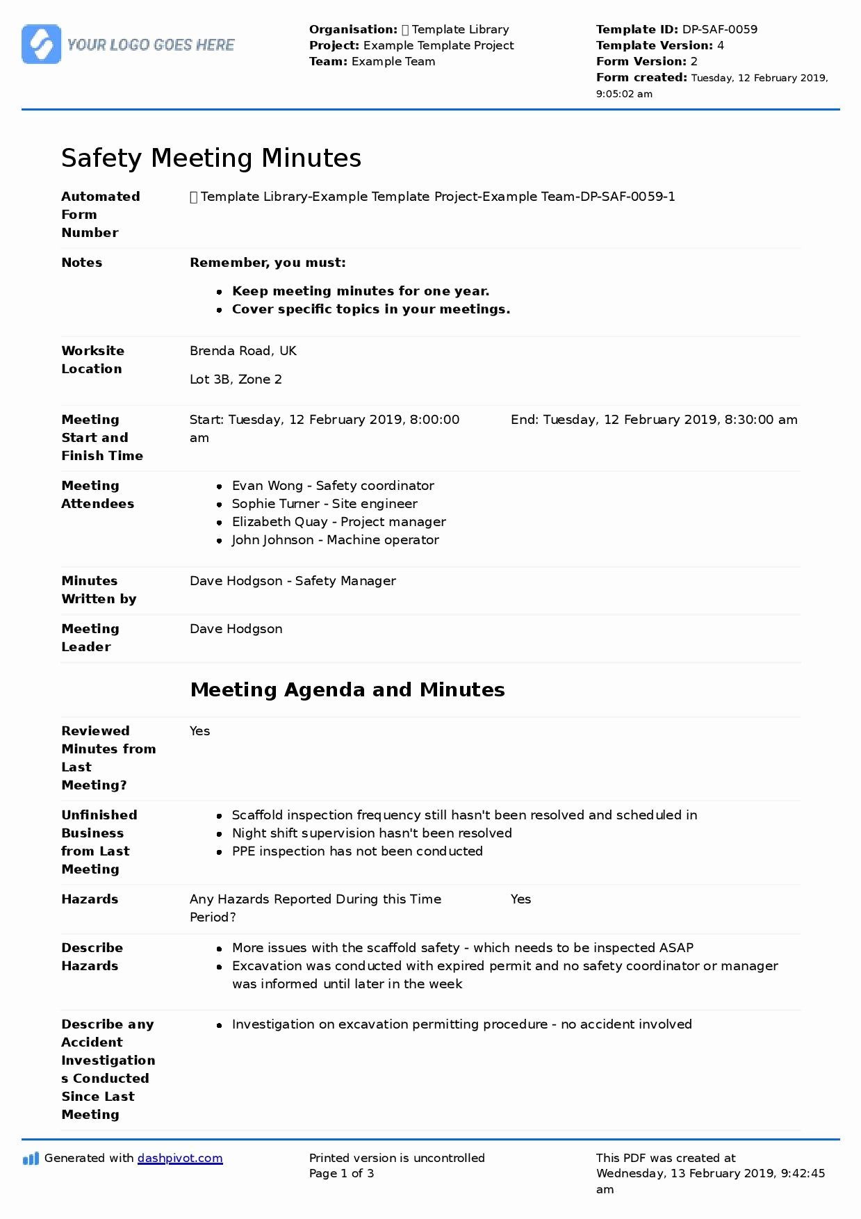Meeting Minutes Agenda Template Best Of Safety Mittee Meeting Agenda and Minutes Template Use