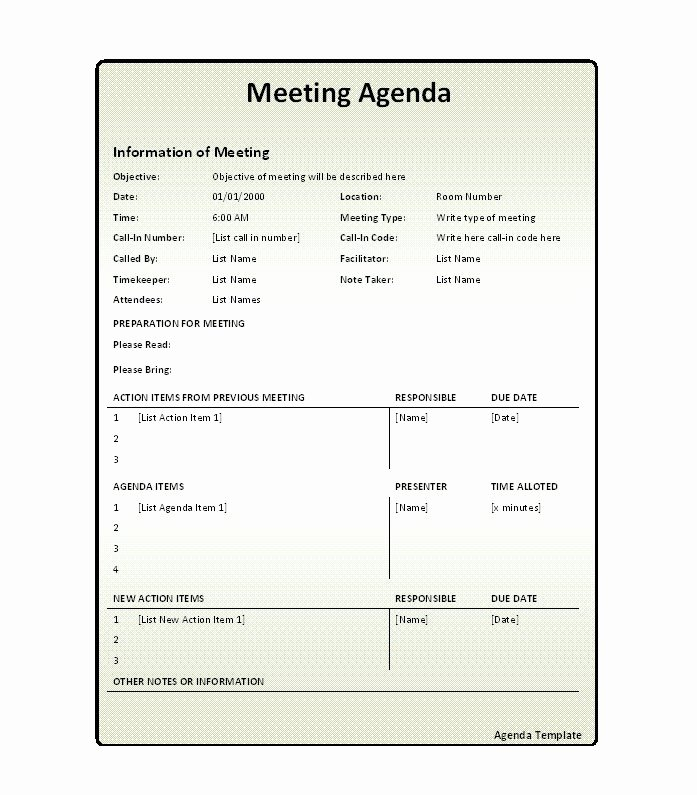 Meeting Minutes Agenda Template Fresh 51 Effective Meeting Agenda Templates Free Template