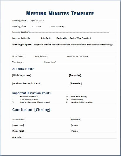 Meeting Minutes Agenda Template Inspirational formal Meeting Minutes Template