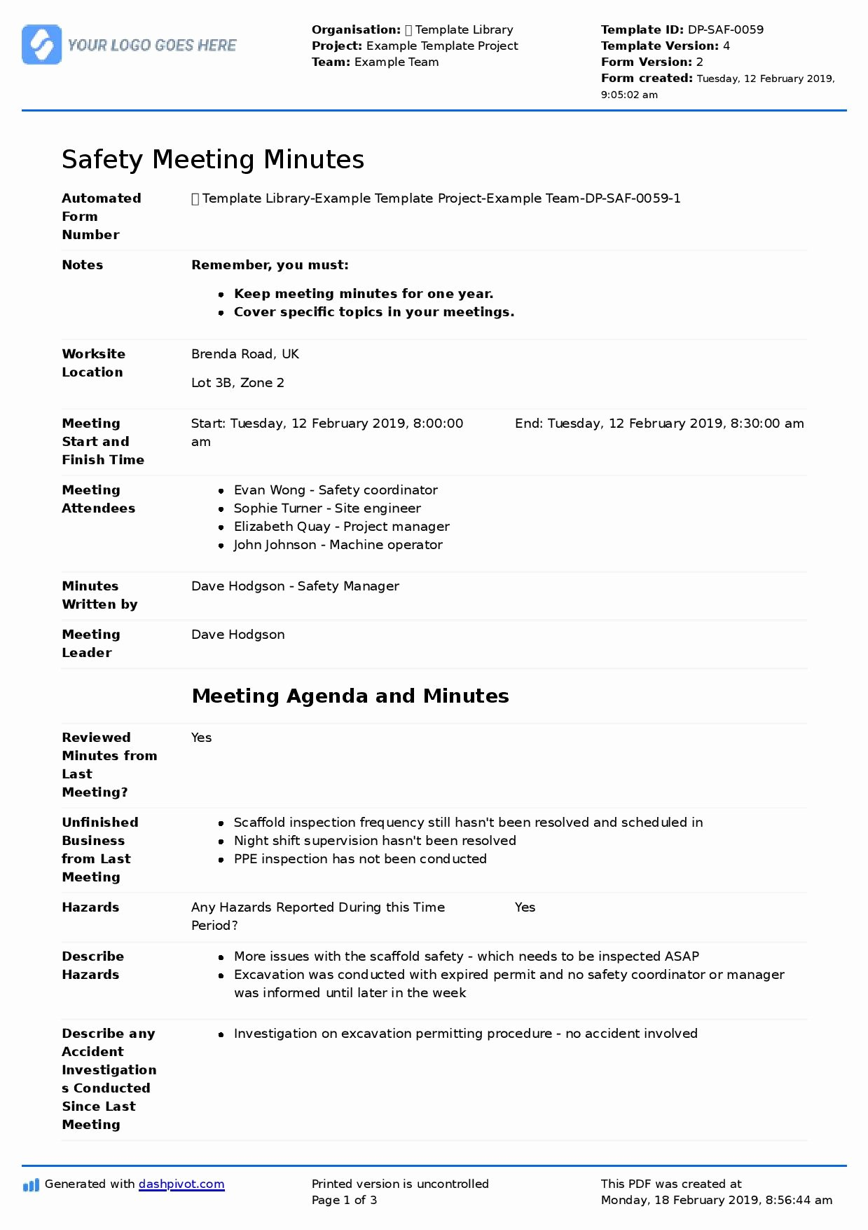 Meeting Minutes Agenda Template Lovely Minutes Of Health and Safety Meeting Template Free and