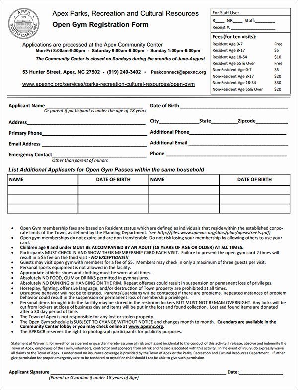 Membership Application form Sample Awesome Gym Membership Registration form Sample forms