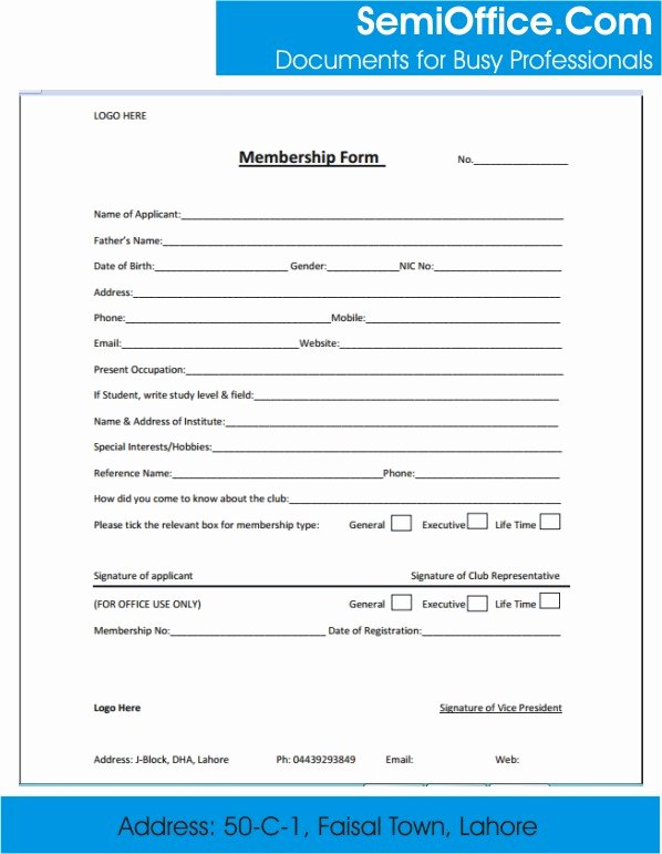 Membership Application form Sample Awesome Membership form Template Word and Excel