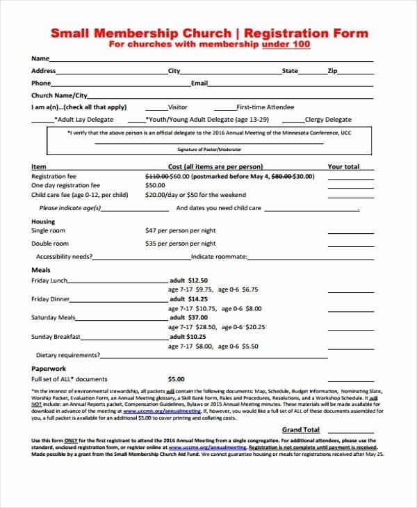 Membership Application form Sample Elegant Free 8 Sample Church Registration forms In Pdf