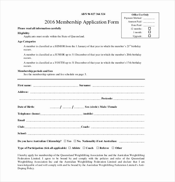 Membership Application form Sample Fresh 15 Membership Application Templates – Free Sample