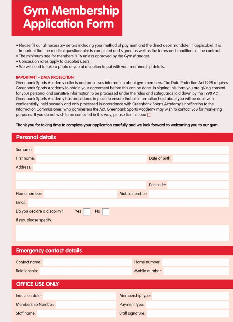 Membership Application form Sample Fresh 6 Best Examples Of Membership Application forms with Free