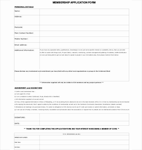 Membership Application form Sample Inspirational 15 Membership Application Templates – Free Sample