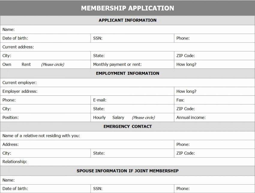 Membership Application form Sample New Membership Application form Template Template Haven