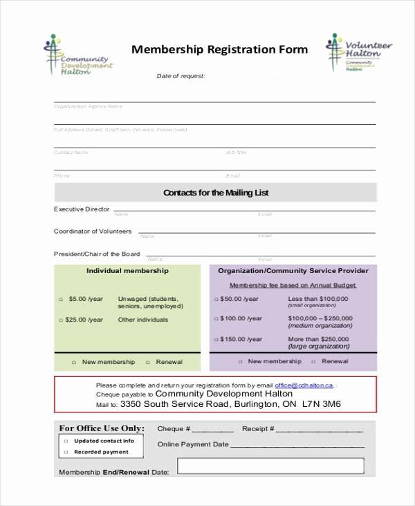 Membership Application form Sample New Sample Membership Registration forms 7 Free Documents