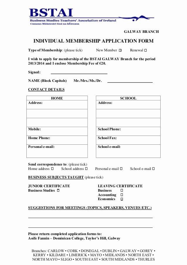 Membership Application form Sample Unique Membership Application form 2013 2014 Galway1
