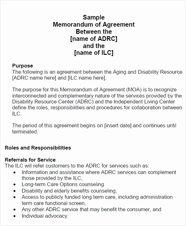 Memorandum Of Agreement Samples Beautiful Free 15 Sample Memorandum Of Agreement Templates In
