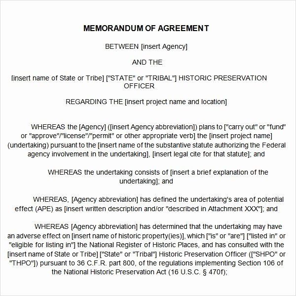 Memorandum Of Agreement Samples Best Of Free 15 Sample Memorandum Of Agreement Templates In