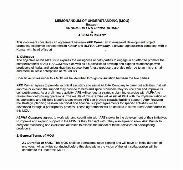 Memorandum Of Agreement Samples Fresh Memorandum Of Understanding Template 21 Download