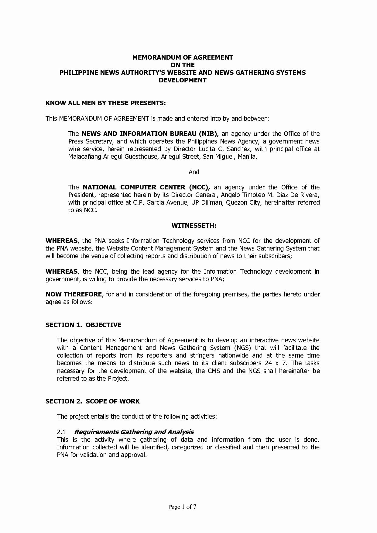 Memorandum Of Agreement Samples Lovely Best S Of Memorandum Agreement Sample Dv Sample