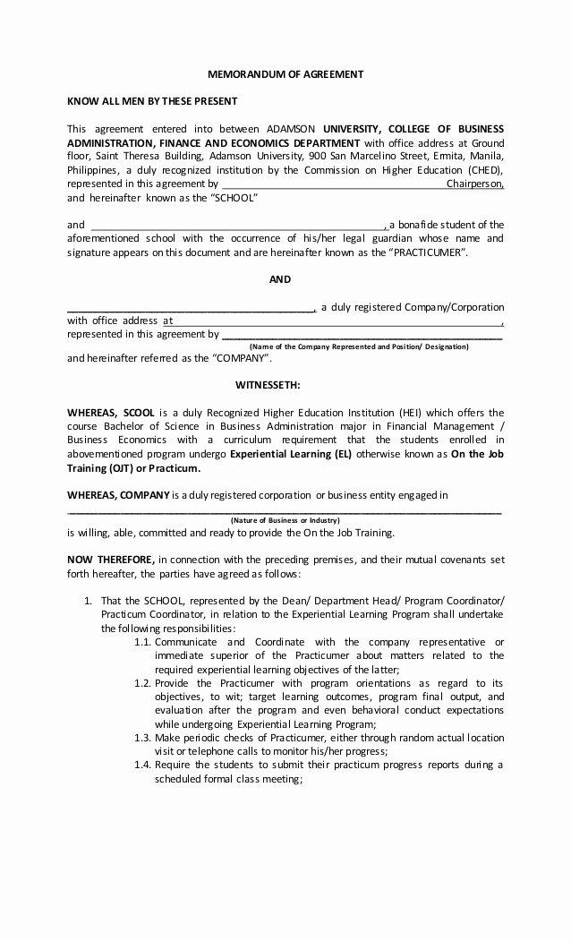 Memorandum Of Agreement Samples Luxury Ojt Moa form