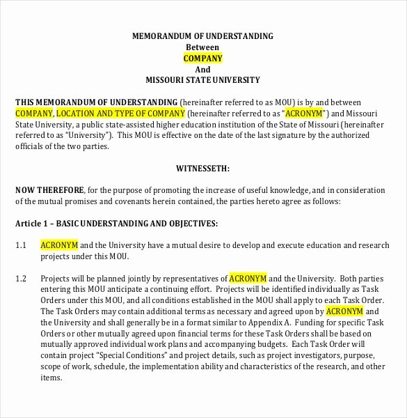 Memorandum Of Agreement Samples New 41 Memorandum Of Understanding Templates Pdf Google