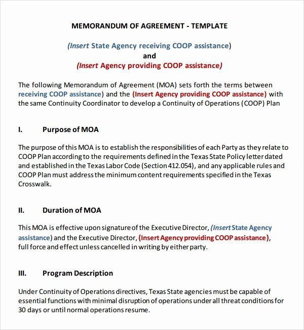 Memorandum Of Agreement Samples New Free 15 Sample Memorandum Of Agreement Templates In