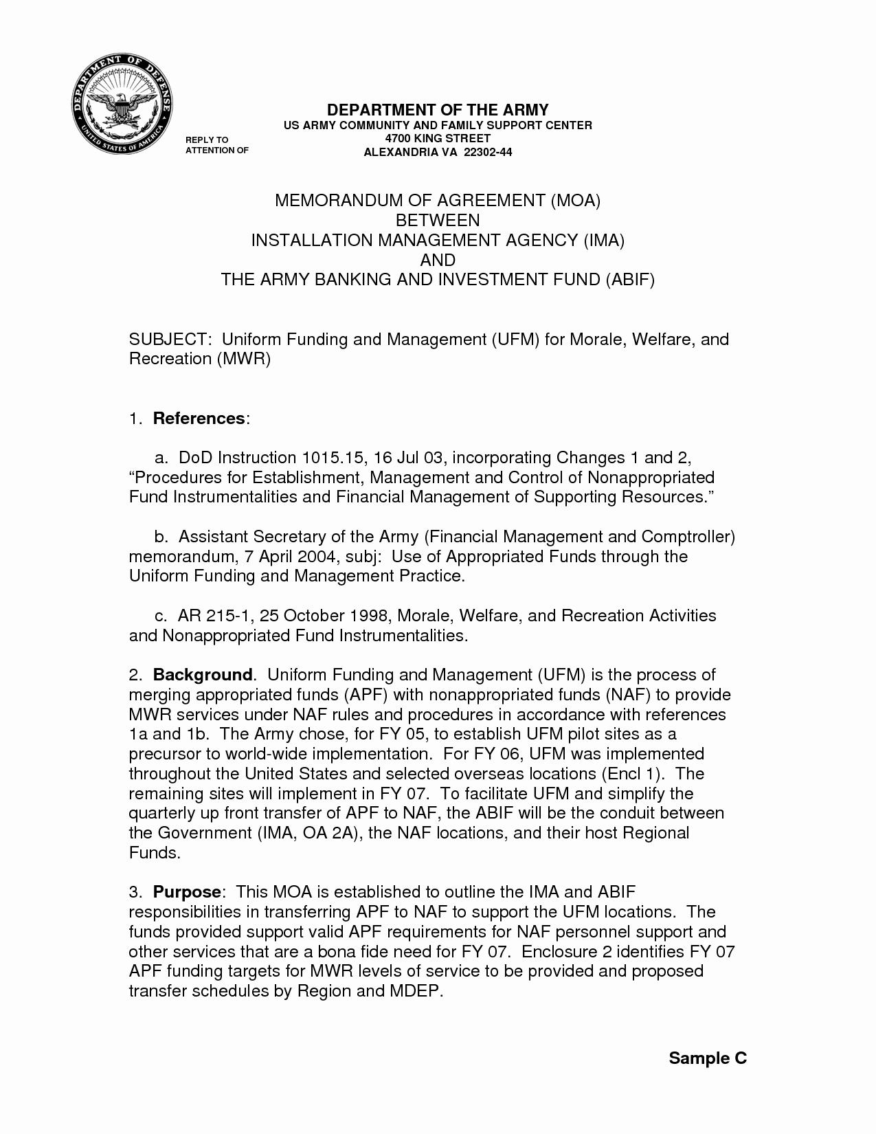 Memorandum Of Agreement Samples Unique 12 Best Of Sample Memorandum From Army Sample
