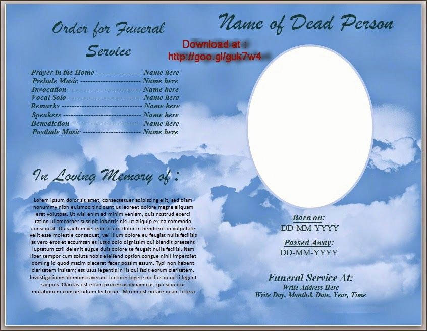 Memorial Program Template Free Awesome Download Free Funeral Program Template for Australia In