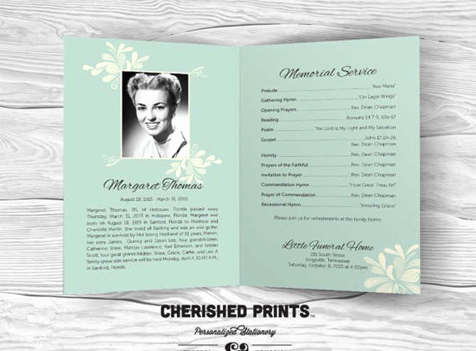 Memorial Program Template Free Awesome Free Editable Funeral Program Template