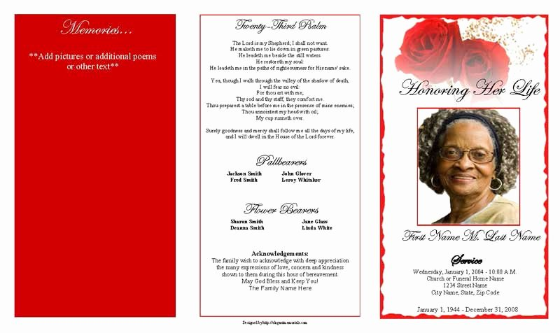 Memorial Program Template Free Awesome Red Rose Trifold Funeral Program Template Elegant Memorials