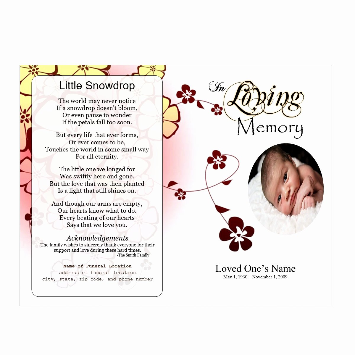 Memorial Program Template Free Beautiful Flowers Single Fold Memorial Program Funeral Pamphlets