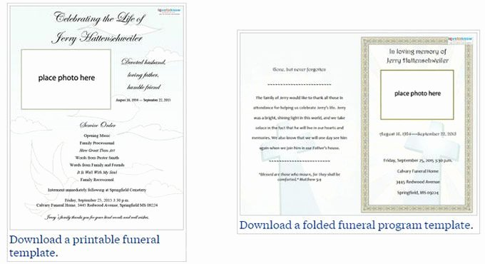 Memorial Program Template Free Fresh Two Free Funeral Service Templates From Love to Know