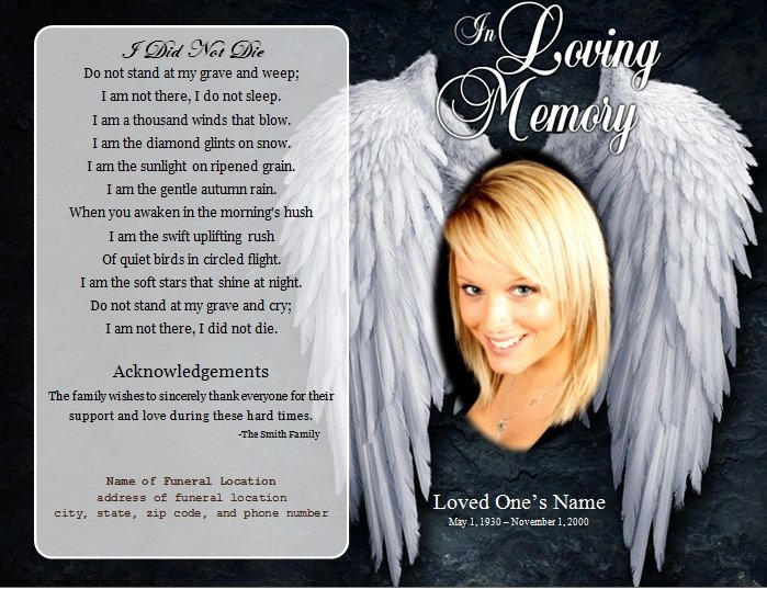 Memorial Program Template Free Inspirational Angel Single Fold Memorial Program