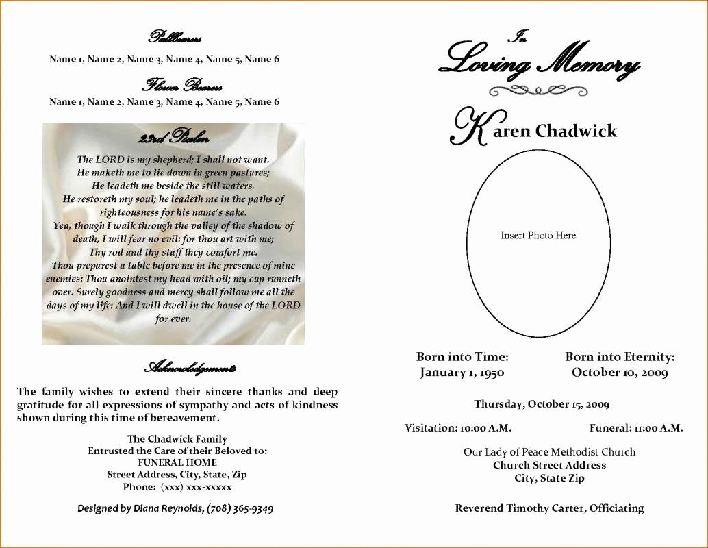 Memorial Program Template Free Unique Free Editable Funeral Program Template